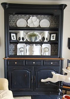 Black but keep the buffet top wood color is nice then a more modern pattern in the inside.