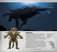 Page on Knifehead from the book Pacific Rim: Man, Machine and Monsters, from the  Pacific Rim article.