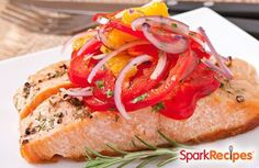 Baked Lemon-Chili Salmon with Tomatoes and Onions  Recipe via @SparkPeople