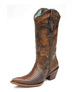 That is one mighty fine lookin' boot:  Corral Women's Camel Teju Lizard Engraved Lace Tube - C1162