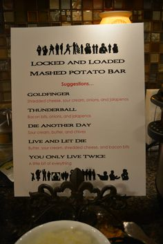 007 James Bond themed birthday party. Locked and Loaded Mashed potato bar.