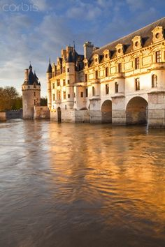 River Cher and Chateau Chenonceau ~ is near the small village of Chenonceau, Loire Valley in France
