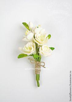 Бутоньерка-брошь с цветами ручной работы - цветы ручной работы,цветы из полимерной глины