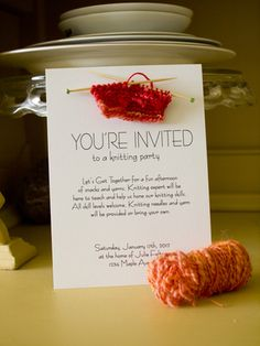 How to Host a Knitting Party - invitation