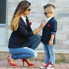 Same clothing mother and son