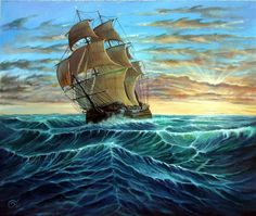 Sailboat, Ship, Sea,Tradition, Original, Oilpainting by Artist, Fineart, Free Shipping Worldwide, Painting on Etsy, $455.84 AUD