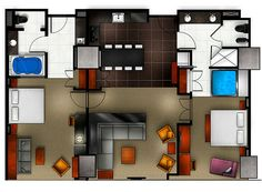 Two Bedroom Floor Plan for Elara, Hilton Grand Vacations-Center Strip