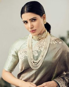 Check out all the possible long pearl necklace designs that are trending now and where you can shop them. Long Pearl Necklaces, Pearl Jewelry, Bridal Jewelry, Beaded Jewelry, Saris, India Jewelry, Jewelry Sets, Banarsi Saree, Silk Sarees