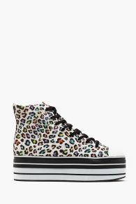 Stacked Platform Sneaker - Leopard