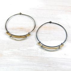 Silver and Gold Hoop Earrings, Mixed Metal Trio