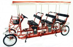Surrey Stretch Limousine Deluxe is a four wheel cycle designed for 9 adults and 2 small children Surry Bike, Wood Bike, Pvc Pipe Projects, Kids Seating, Bike Style, Pedal Cars, Go Kart, Custom Bikes, Surrey