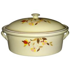 Hall Jewel Tea Autumn Leaf Collectors' Covered Casserole offered by Ruby Lane Shop, Yesterdays.