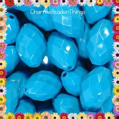 20 pcs 23mm Chunky Blue Faceted Oval Acrylic by CharmsBeadsnThings, $3.00