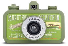 """Lomography presents """"The La Sardina Fish Market"""" line of sardine tin inspired analogue wide-angle cameras. (above is the Marathon model, one of 4 initial designs) 35mm Film, Film Camera, Lomo Camera, Urban Outfitters, Camera Photos, Cute Camera, Multiple Exposure, Shoot Film, Wide Angle Lens"""