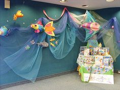 Ocean, water, fish and sharks! A display in central children's branch for the summer.