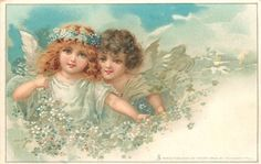 Spring, 2 fairies with blue & white blossoms ~ 1909.