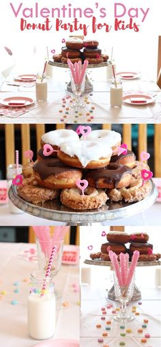 Valentine's Day Donut Party Theme for Kids with Oriental Trading Company Party Supplies \\ Click for more inspiration!