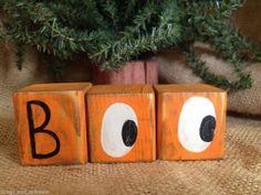 Primitive Halloween Fall Boo Eyes Shelf Sitter Cube Blocks