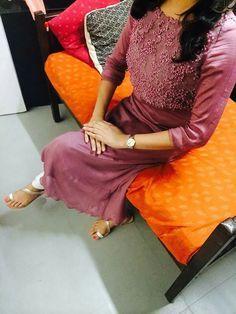 More Salwar Designs, Kurti Neck Designs, Kurta Designs Women, Blouse Designs, Kurtha Designs, Simple Dress Pattern, Dress Patterns, Simple Kurta Designs, Gown Party Wear