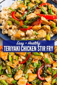 Easy, Healthy Teriyaki Chicken Stir Fry with Vegetables! BETTER THAN TAKE OUT. This fast, healthy meal comes together in a flash, and everyone loves it! The sweet, sticky honey teriyaki sauce is irres Teriyaki Stir Fry, Healthy Teriyaki Chicken, Teriyaki Sauce, Bbq Chicken, Stir Fry With Rice, Meals With Rice, Healthy Meals With Chicken, Teriyaki Chicken Bowl Recipe, Chinese Chicken Stir Fry