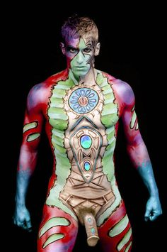 Naked man body paint