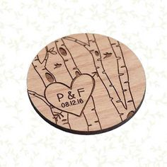 50+ Heart with Initials on Birch Tree Save the Date Magnets - Laser cut and Etched on Wood by StylineDesigns on Etsy https://www.etsy.com/listing/234913105/50-heart-with-initials-on-birch-tree