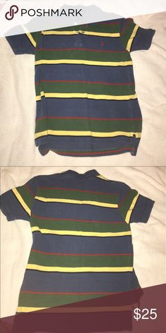 Striped polo shirt Ralph Lauren In great condition. Nice pattern of strips and nice colors of navy blue, green, and red. Polo by Ralph Lauren Shirts & Tops Polos