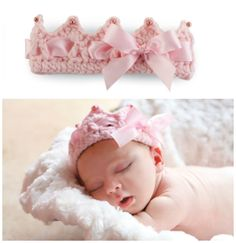 Jan 2016 - You will love this Crochet Baby Crown Pattern Free Video and it's very easy to make. It would be a perfect newborn baby gift for friends and family. Crochet Bebe, Baby Girl Crochet, Newborn Crochet, Crochet Baby Hats, Crochet For Kids, Baby Knitting, Knit Crochet, Headband Crochet, Free Knitting