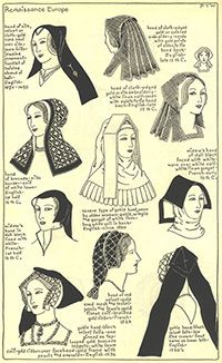 """Renaissance Europe, Chapter plate """"Mode in Hats and Headdresses"""" by R Turner Wilcox Mode Renaissance, Costume Renaissance, Medieval Costume, Renaissance Fashion, Medieval Gown, Historical Costume, Historical Clothing, Historical Hairstyles, Tudor Fashion"""