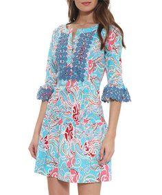 Look at this #zulilyfind! Blue Floral Crochet-Trim Notch Neck Dress #zulilyfinds