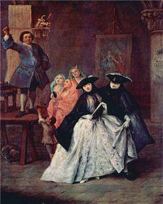 Page: The Charlatan  Artist: Pietro Longhi  Completion Date: 1757  Style: Rococo  Genre: genre painting  Technique: oil  Material: canvas  Dimensions: 62 x 50 cm  Gallery: Ca' Rezzonico, Museo del Settecento, Venice