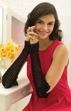 Best Free Crochet » Free Long Lacy Wristers Crochet Pattern from RedHeart.com #274 6/18/13