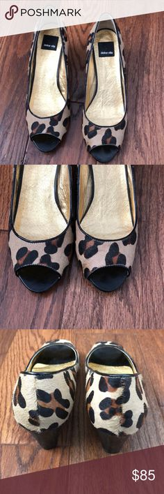 Dolce Vita Peep Toe Wedges In Leopard NWOT. Only has been worn around the house. Dolce Vita Shoes Wedges