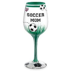 Soccer Mom Hand Decorated Wine Glass