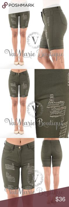 """CLEARANCE Olive Destroyed Bermuda Shorts Women's Destroyed Super Stretched Bermuda Shorts - fits true to size S(2-4) M(6-8) L(10-12)  97% Cotton, 3% Spandex. Inseam apprx 8"""" - wear adorable shorts without being self conscious of your legs! ValMarie Boutique Shorts Bermudas"""