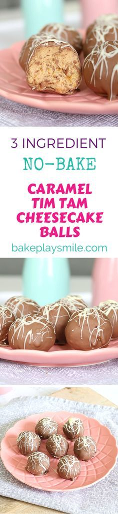 These Caramel Tim Tam Cheesecake Balls are completely no-bake, take only 5 minutes to make and you only need 3 ingredients! These deliciously rich 3 ingredient Caramel Tim Tam Cheesecake Balls are completely no-bake and ready in no time! Tim Tam Cheesecake, Caramel Cheesecake, Simple Cheesecake, Mint Cheesecake, Mini Desserts, Delicious Desserts, Yummy Food, Weight Watcher Desserts, Xmas Food