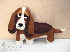 Dog Sewing Pattern PDF - Basset Hound Stuffed Animal Felt Plushie - Benny The Basset Hound - Instant Download