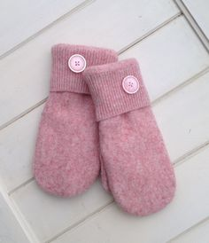 Pink Repurposed Lambswool Nylon Sweater Mittens in Women's Size Small with White Fleece Lining and Pink Plastic Buttons-Ready to Ship by SewforYou on Etsy