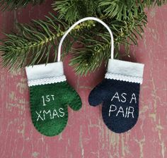 First Christmas As A Pair WITH INITIALS Felt Mini by RedRavenNest