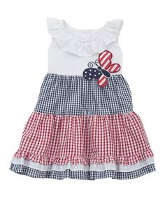 Look at this Rare Editions Navy & Red Gingham Tiered Ruffle Dress - Infant on #zulily today!