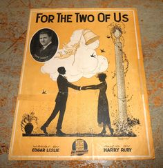 """Vintage Music Sheets """"For The Two Of Us"""" Fred Hudler  Piano Old Music Score Sheet Music Piano Music"""
