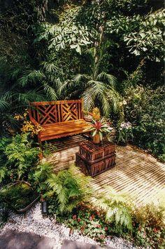 O jardim da mostra Casa Cor Rio de Janeiro tem adoráveis cantos de estar…