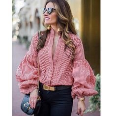 """Universe of goods - Buy """"Vintage deep v-neck plaid blouse women Long puff sleeve summer blouse shirt 2018 Streetwear casual stripe black blusas tops sexy"""" for only USD. Casual Outfits, Fashion Outfits, Ladies Fashion, Fashion Hacks, Fashion Stores, Fashion Today, Fashion Images, Fashion Flats, Shirts"""