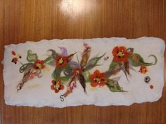 Free-form composition: table runner inspired by the colours of the Logie gardens. By a workshop participant Diva Design, Wet Felting, Wonderful Things, Table Runners, Workshop, Colours, Crafts, Painting, Inspiration