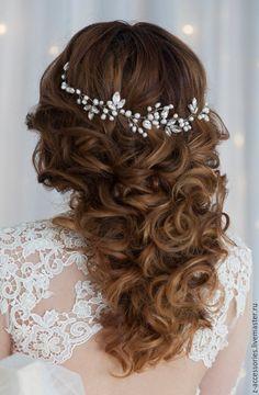 Купить Веночек из натурального жемчуга - белый, свадебное украшение, свадебные аксессуары, украшение для волос