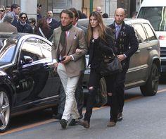 Lapo Elkann, Bianca Brandolini D'Adda & Luca Rubinacci (of the Neopolitan tailoring house) following.