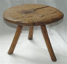 Three Leg Oak Wood Mortised Milking Stool