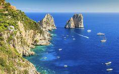 Lataa kuva Amalfi, bay, jahdit, rannikolla, kesällä, meri, Salerno, Italia