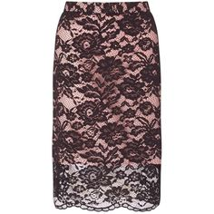 Miss Selfridge Black Lace Pencil Skirt (€71) ❤ liked on Polyvore featuring skirts, pink, lacy skirt, lace skirt, miss selfridge, pink skirt and pencil skirt