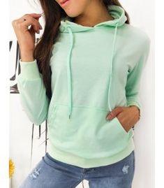 Mätová dámska mikina Modivos Mint Color, Dog Walking, Jogging, Hooded Jacket, Sporty, Sweatshirts, Cotton, Jackets, Composition